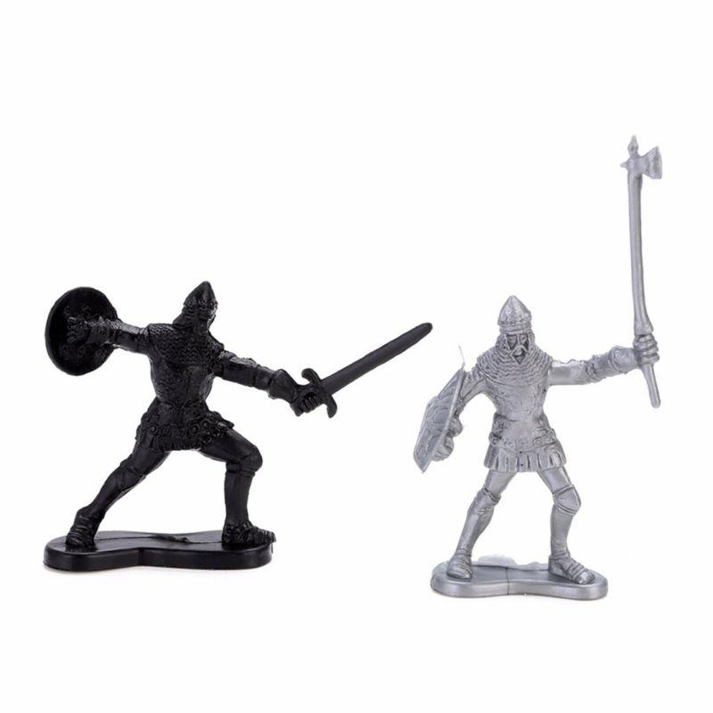 60Pcs Medieval Knights Soldiers Figure Model Toy Playset