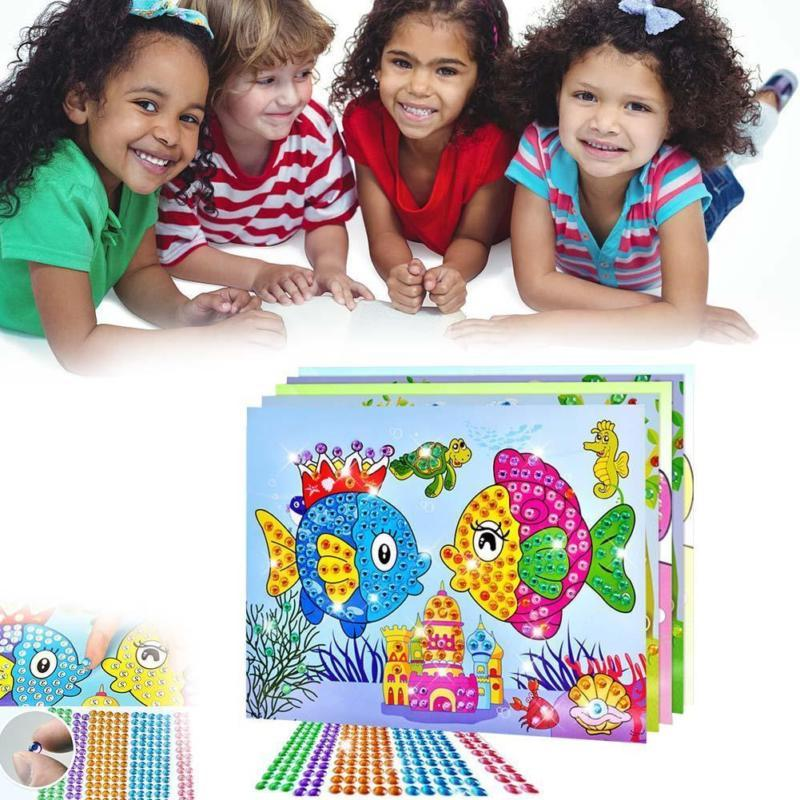 Art Sticker Mosaic Craft Kids Educational Puzzle Diamond Gem Toys Stones O6L6