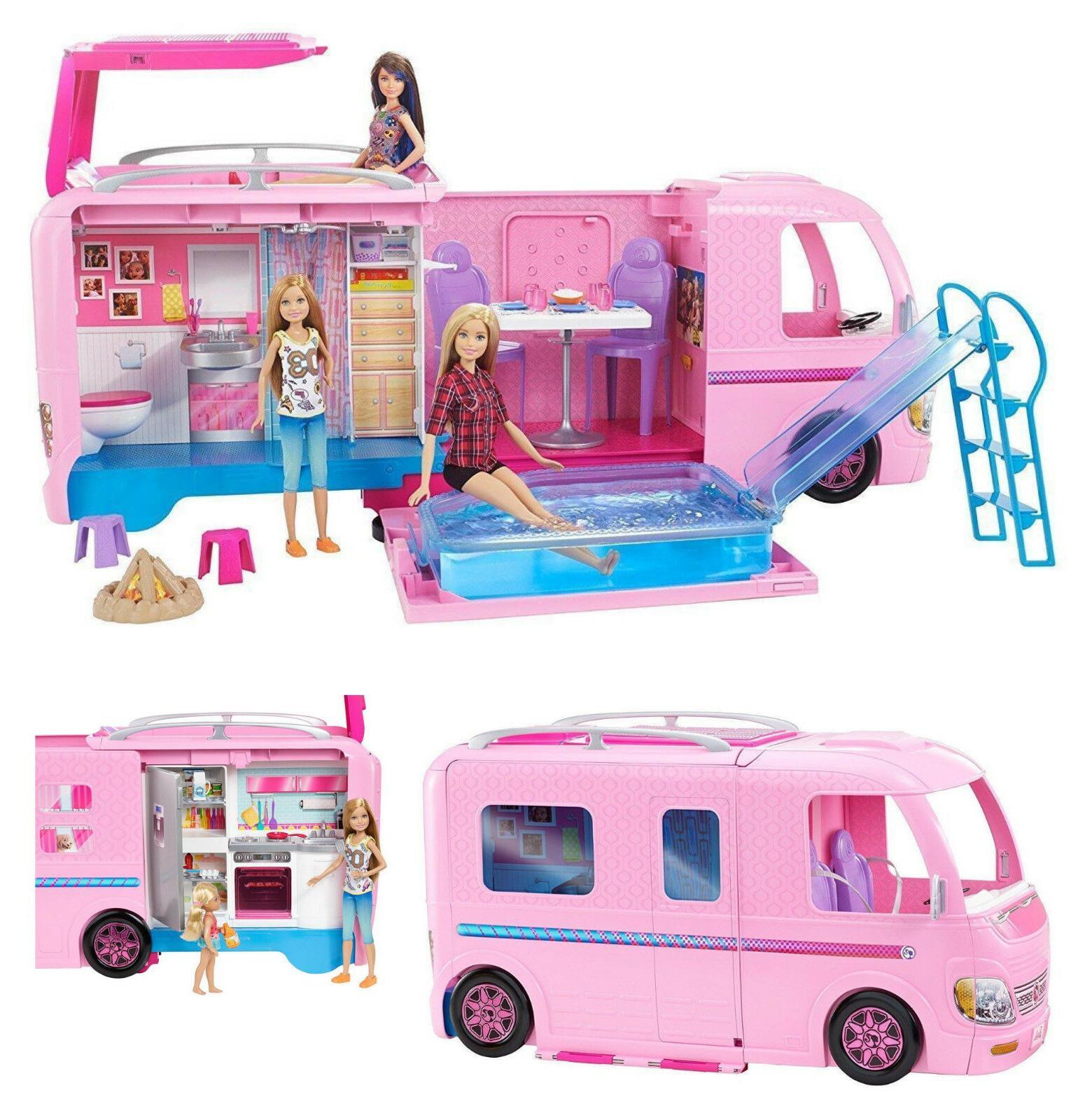 Brand New Mattel Barbie Dream Camper Pink RV Bus Home Van Mo