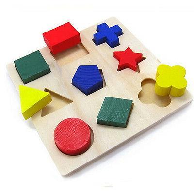 children baby educational wood puzzle shape classification