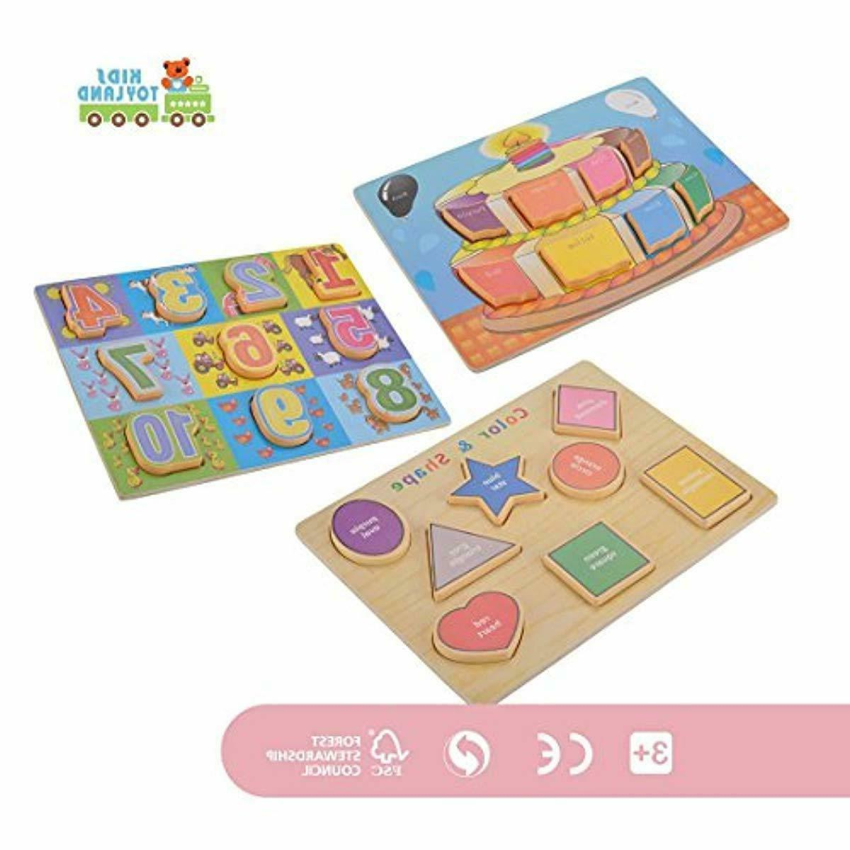 Classic Wooden Puzzles Set Toddlers - Pre-Kindergarten Toys Suitable