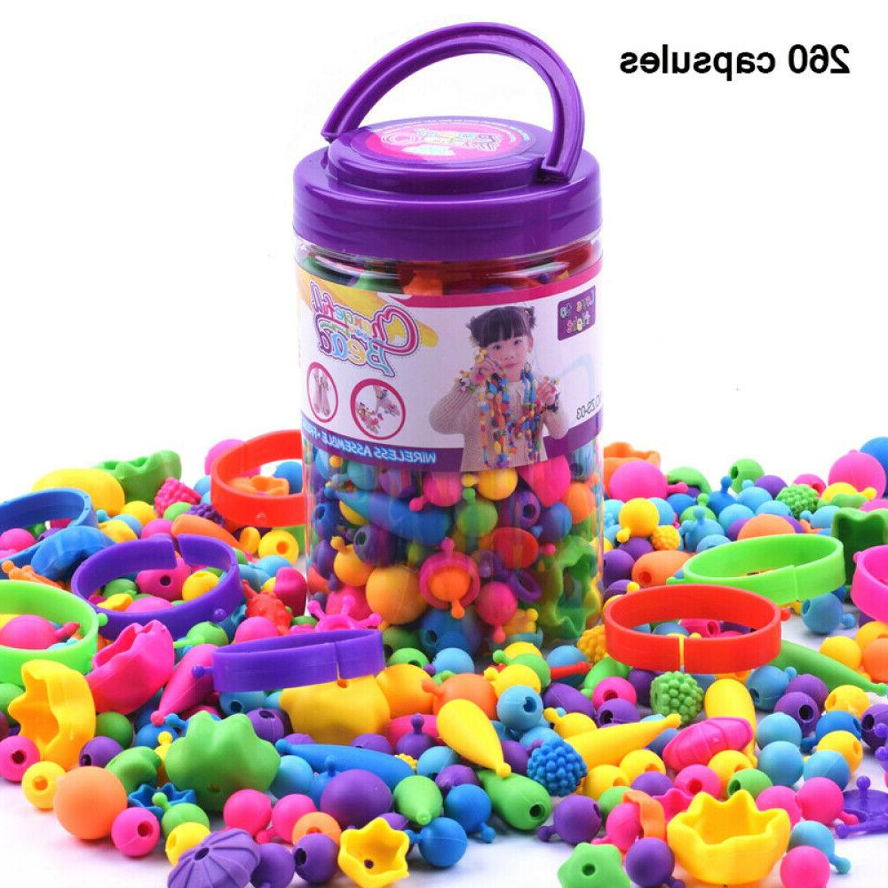 Kids DIY Beads Toys Colourful Snap Beads Arts Crafts For Jew