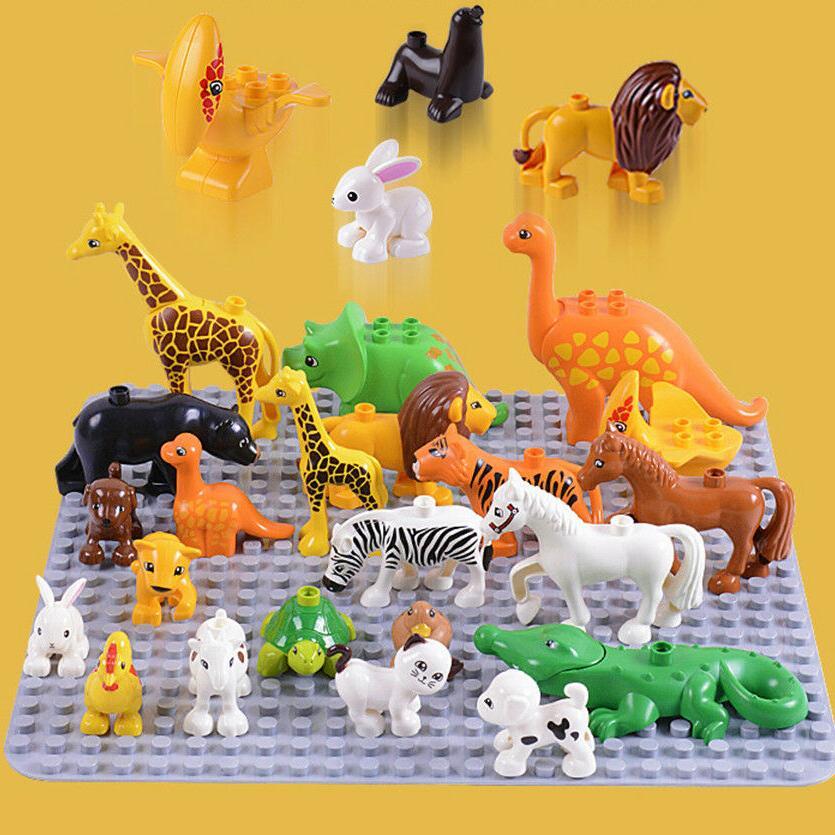 Duplos Animal Model Figures set Elephant monkey Horse kids e