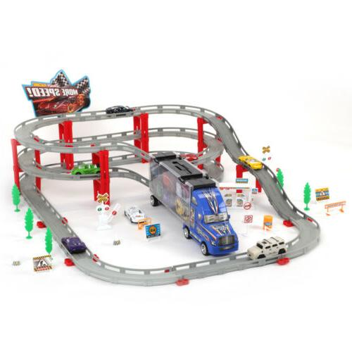 Electric Racing Car Track Kids Rail Model Railway Road Build