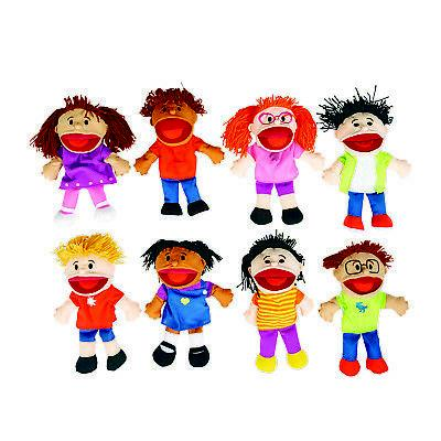Fun Express - Plush Happy Kids Hand Puppets Multi-Ethnic Col