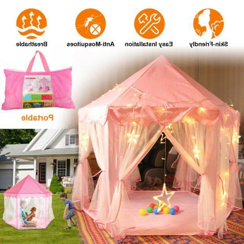 Girls Pink Princess Castle Tent Cute Playhouse Children Kids