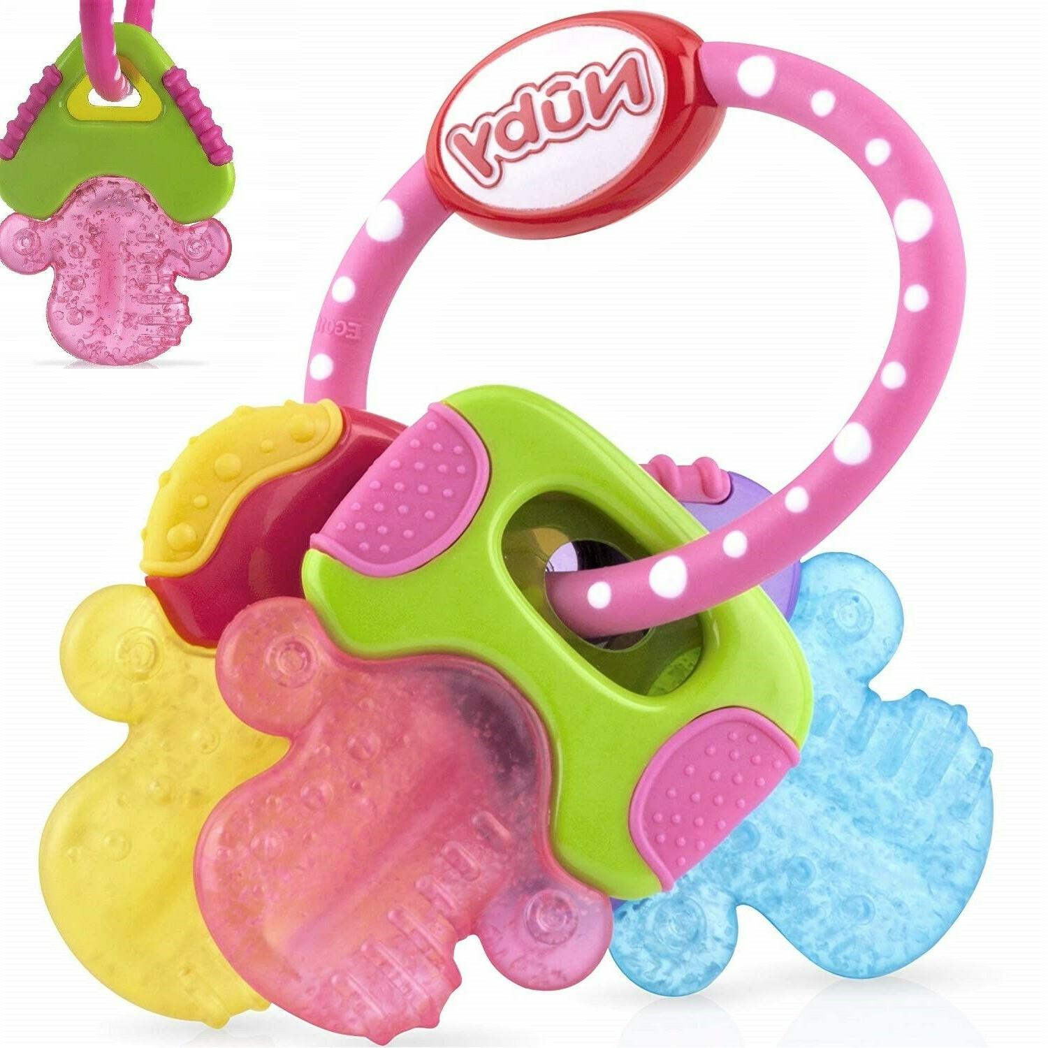 Nuby Ice Gel Teether Keys Baby Toy Soft Teething Soothing Bite Multi-surfaced