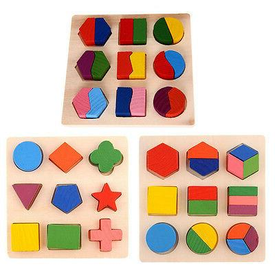 Kids Baby Wooden Learning Geometry Educational Toys Puzzle M