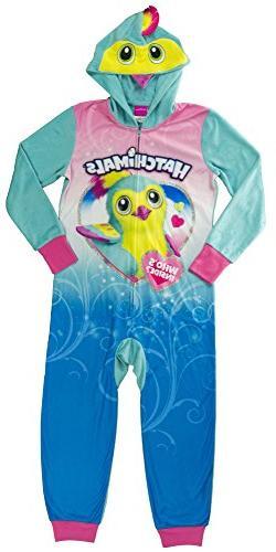 Hatchimals Little Girls' Costume, Onesie Pajamas, Blue, 10/1