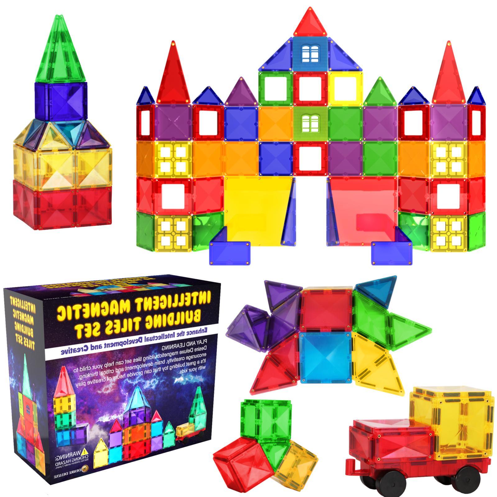magnetic tiles blocks building set for kids