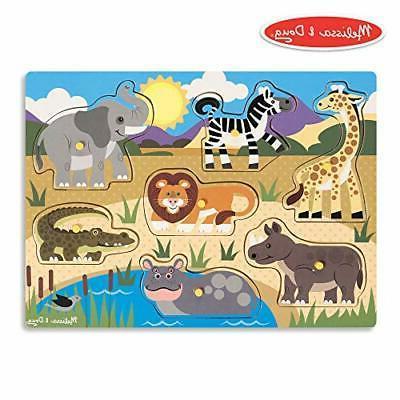 Melissa Doug Safari Peg Puzzle Colorful Animal