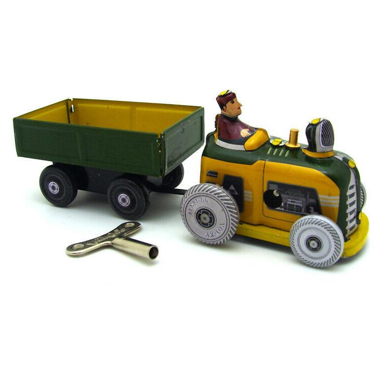 new hand made wind up tin tractor