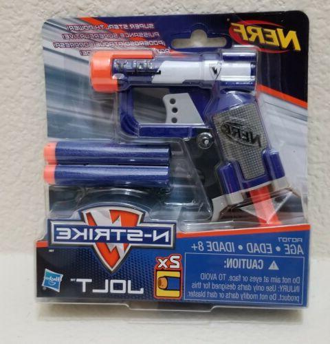 New Blue NERF N-STRIKE JOLT Blaster Toy Gun w// 2 Elite Darts /& Cocking Handle