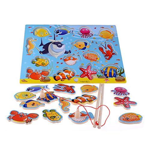 rolimate 14-Piece Fishes Basic Educational Development Woode