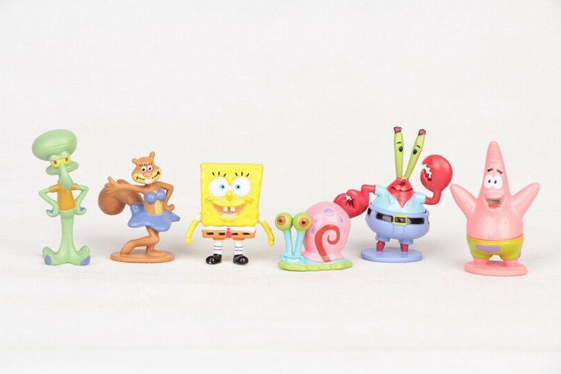 set of 6pc spongebob squarepants cartoon action