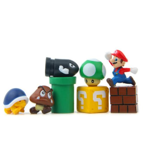 Super Mario 8 PCS Action Figure Cake Topper Toy Goomba Mario
