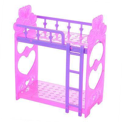 US Barbie Doll Plastic Double Bunk Bed Frame Bedroom Furnitu