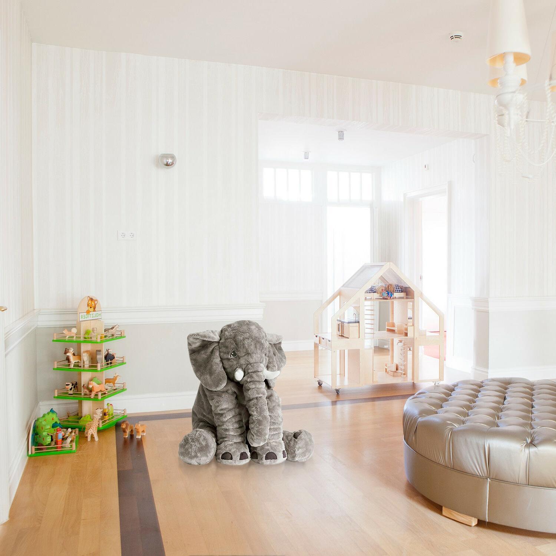 XXL Plush Elephant Baby Nap Cushion Gray