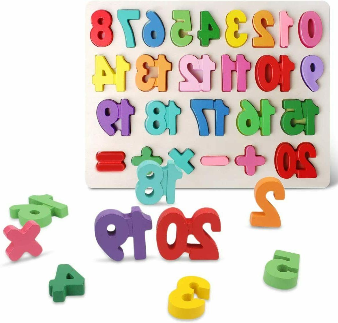 Wooden Number Puzzle Board Educational Early Learning Toys