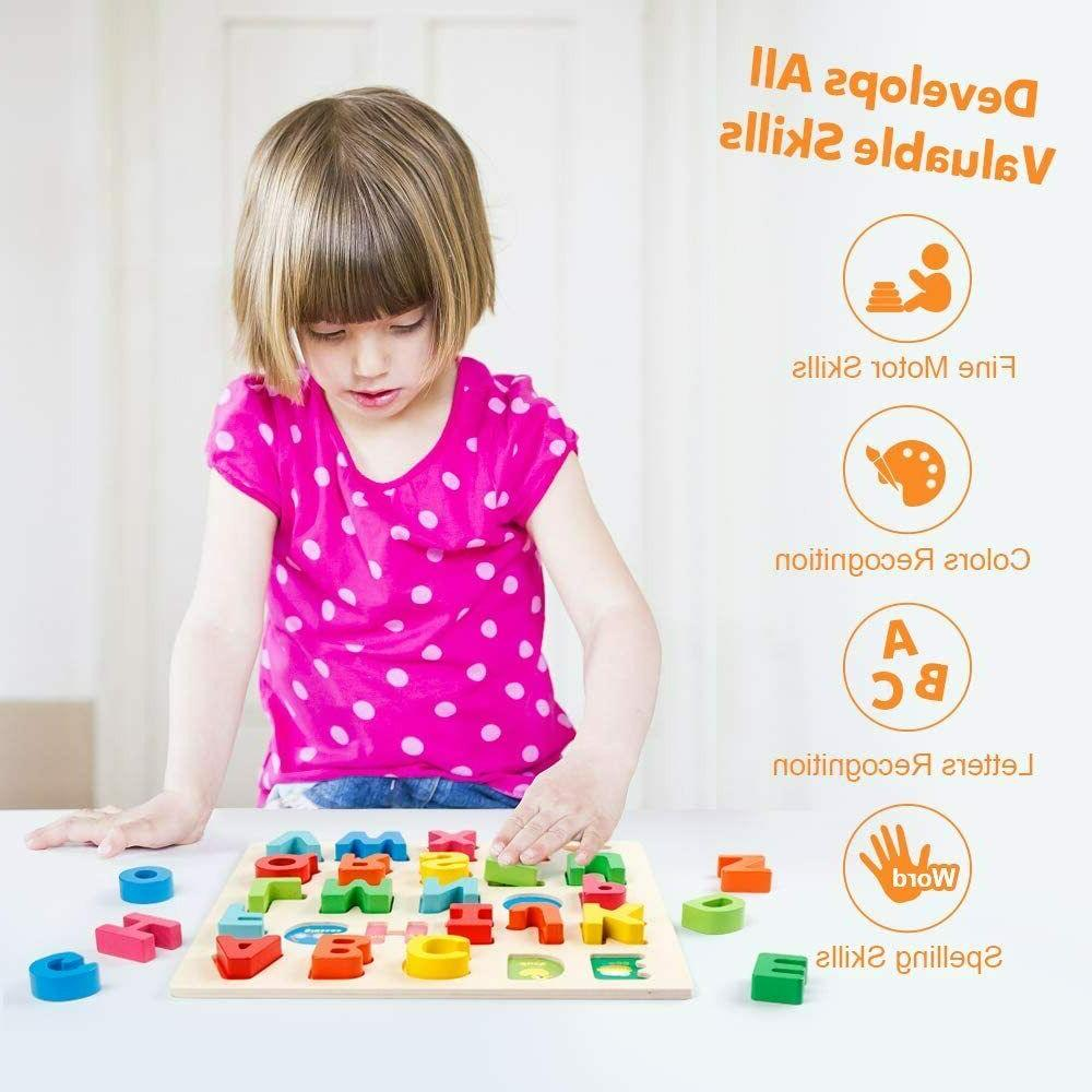 Wooden Alphabet Number Board Toddler Educational Learning