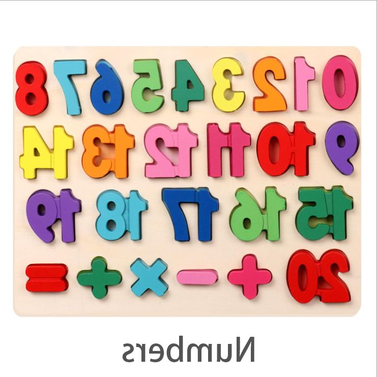 Wooden Alphabet Number Puzzle Board Toddler Educational Learning Toys