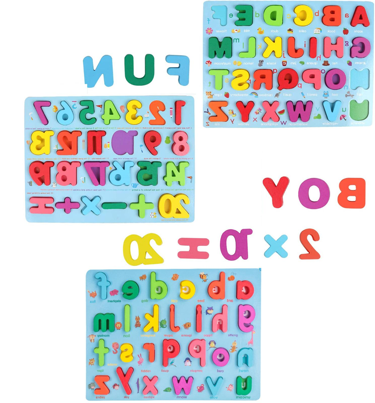 wooden alphabet number puzzle board toddler educational