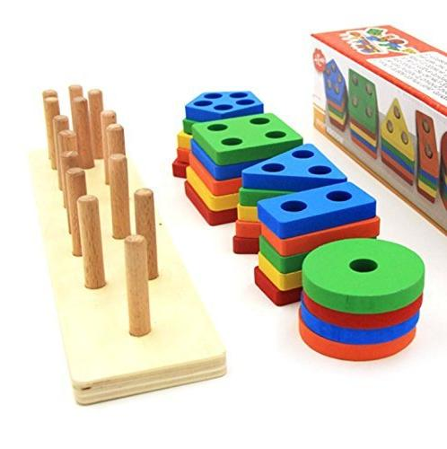Wooden Toys 3 4 5 Color Recognition Blocks Stack Puzzles Kids Children Non-Toxic