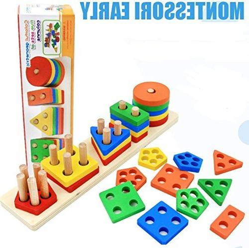 Wooden Toys for 1 2 3 5 Old Girls Blocks Puzzles Children Non-Toxic Toy