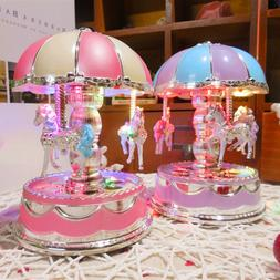 LED 3 Horses Carousel Music Box Toy Musical Girl Boy Baby Ki
