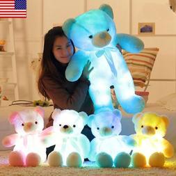 LED Shiny Teddy  Stuffed Animals Plush Soft Hug Toy Baby Kid