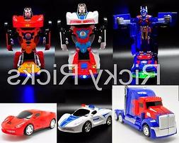 Light Up Transformers Bump And Go Car LED Police Autobot Tru