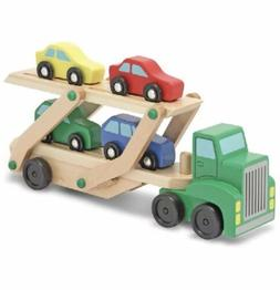 MELISSA & DOUG Car Carrier Truck and Cars Wooden Toy Set Wit