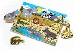 Melissa & Doug Safari Peg Puzzle (Colorful Animal Artwork, E