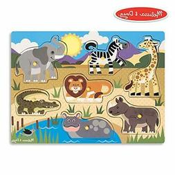 Melissa & Doug Safari Peg Puzzle (Colorful Animal Artwork, E