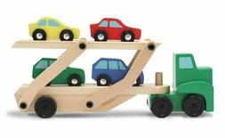Melissa Doug Car Carrier Truck and Cars Wooden Toy Set With