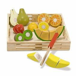 Melissa Doug Cutting Fruit Set, Wooden Play Food, Attractive