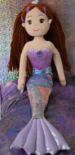 Aurora Mermaid Sea Sparkles Merissa Plush Doll Purple Brown