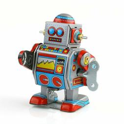 Mini Vintage Retro Tin Wind Up Robot Movable Toy for Adult C