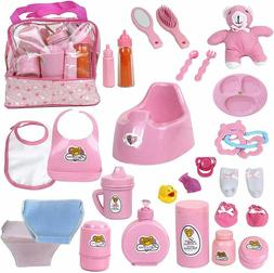 Mommy & Me Baby Doll Feeding Changing Potty Toy Bag Set 28 A