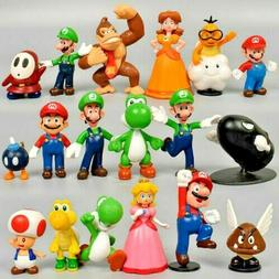 New 18 pcs Super Mario mini Figure Cute Toys doll Action fig