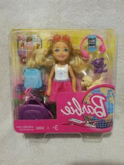 New Barbie Chelsea Blonde Travel  Doll with Puppy, Carrier a