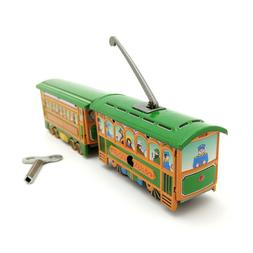 New Hand-Made Tin Two-section Tram Wind-up Vintage Adult Col