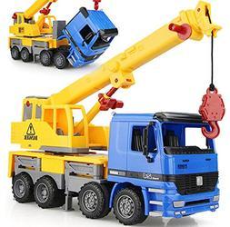 """15"""" Oversized Friction Crane Truck Construction Vehicle Toy"""