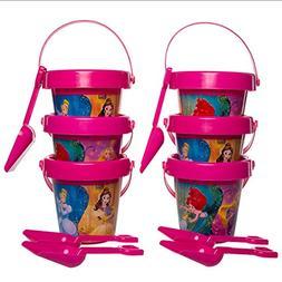 Set Of 6 Kids Pails & Shovels Beach Sand Box Digger Toys For