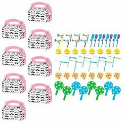 BirthdayExpress Pink Mustache Party Supplies Filled Favor Bo