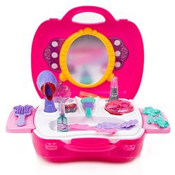 Toysery Pretend Play Cosmetic and Makeup Toy Set Kit for Lit