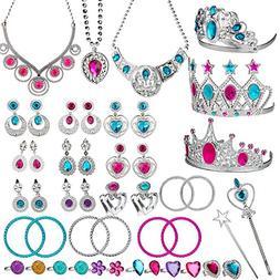 WATINC 46Pack Princess Pretend Jewelry Toy,Girl's Jewelry