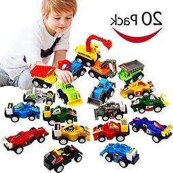 Pull Back Car, 20 Pcs Assorted Mini Truck Toy and Race Car T