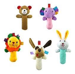 5 PCS Set Cartoon Stuffed Animal Baby Soft Plush Hand Rattle