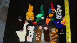 Set of 12 Hand-Knit Finger Puppets Collectibles